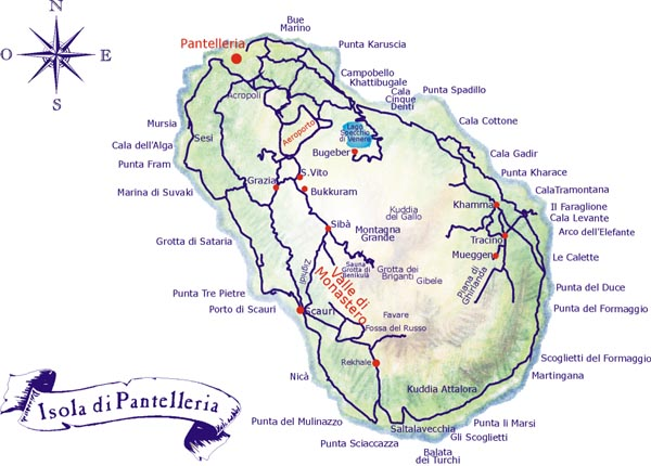 La cartina dell'Isola di Pantelleria